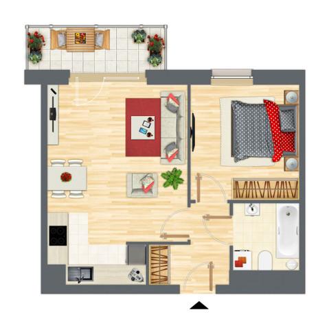 Mieszkanie w inwestycji Słowackiego 77, Gdańsk, 46 m² | Morizon.pl | 9286