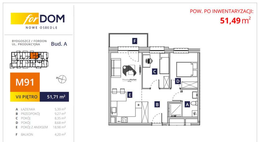 Mieszkanie na sprzedaż, Bydgoszcz Fordon, 52 m²   Morizon.pl   7418