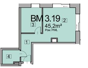 Mieszkanie w inwestycji Deo Plaza, Gdańsk, 45 m²
