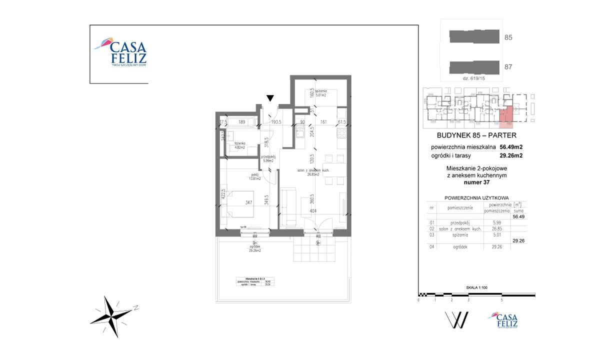 Mieszkanie w inwestycji Casa Feliz etap VI, Kraków, 56 m² | Morizon.pl | 6907
