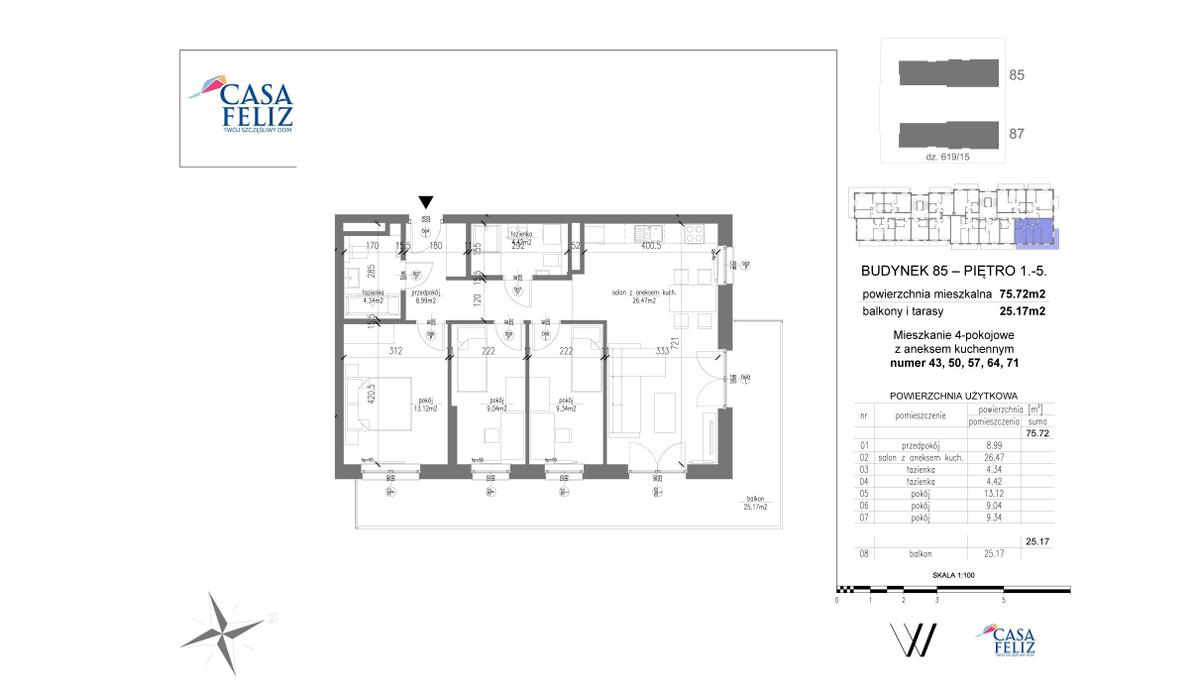 Mieszkanie w inwestycji Casa Feliz etap VI, Kraków, 76 m² | Morizon.pl | 6934