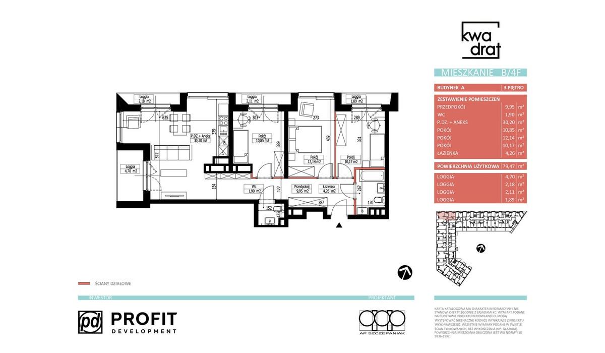 Mieszkanie w inwestycji Kwadrat, Wrocław, 79 m² | Morizon.pl | 9682
