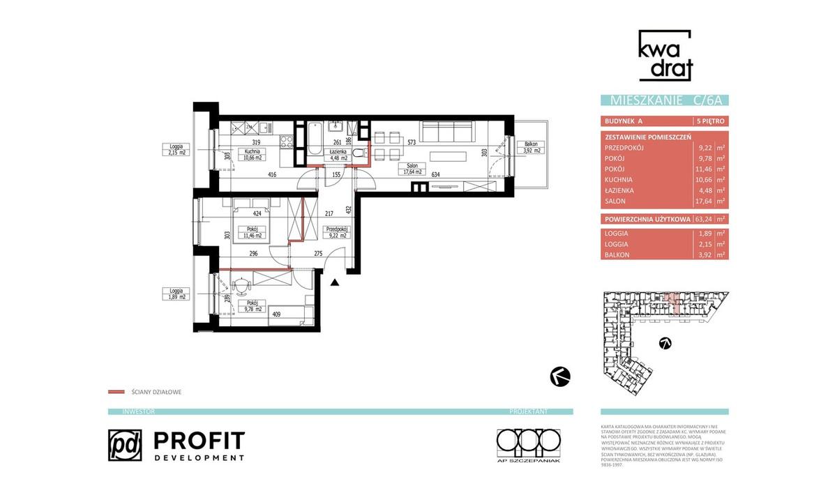 Mieszkanie w inwestycji Kwadrat, Wrocław, 65 m² | Morizon.pl | 9602