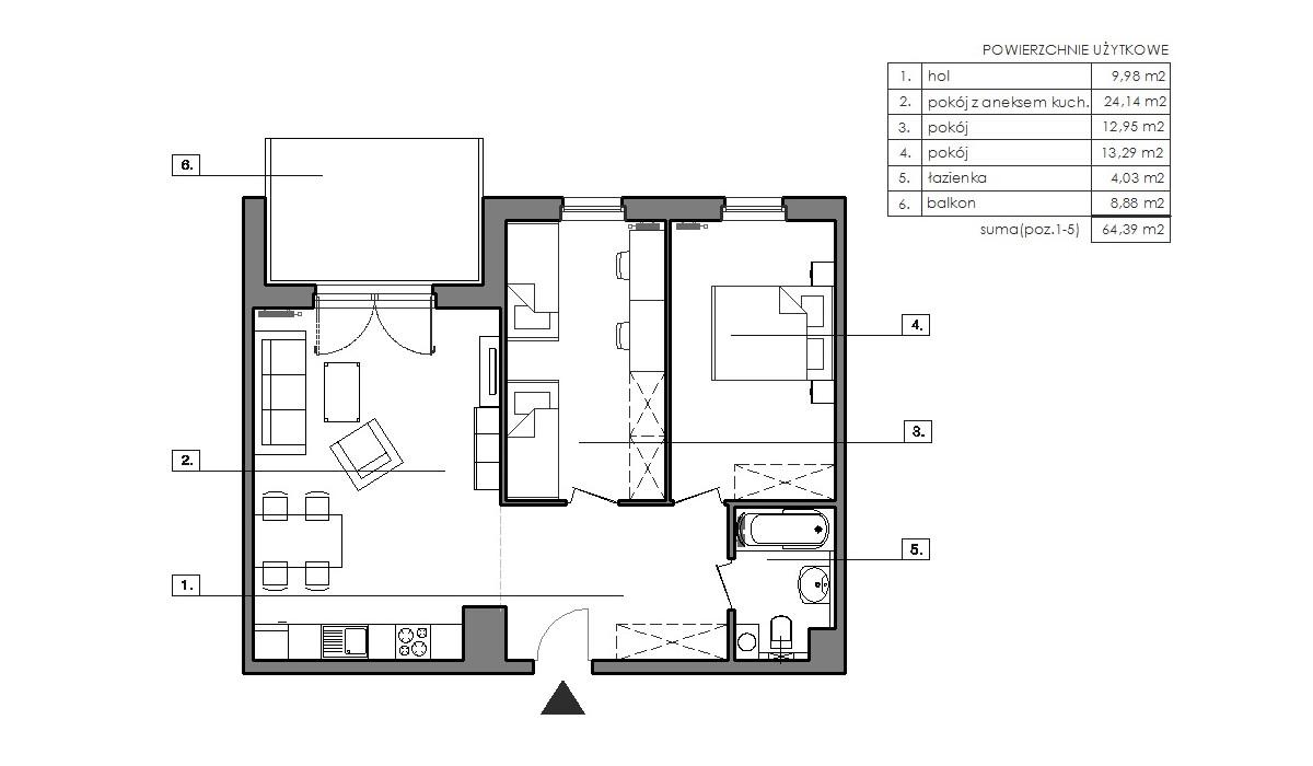 Mieszkanie w inwestycji Signum, Gdynia, 67 m² | Morizon.pl | 6512
