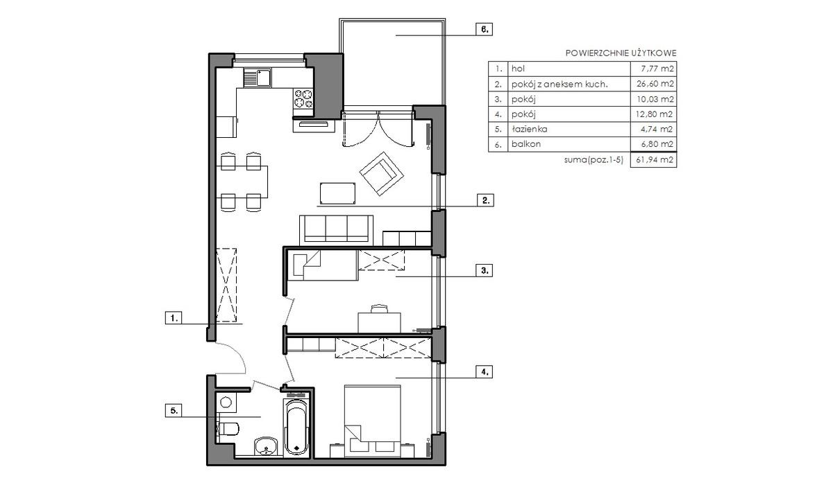 Mieszkanie w inwestycji Signum, Gdynia, 65 m²   Morizon.pl   6513