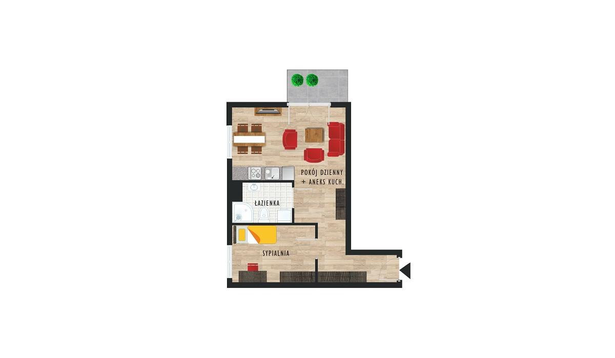 Mieszkanie w inwestycji Karoliny V, Katowice, 43 m² | Morizon.pl | 0481