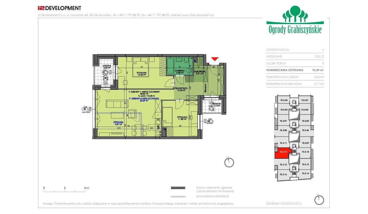 Mieszkanie w inwestycji Ogrody Grabiszyńskie, Wrocław, 76 m² | Morizon.pl | 4596