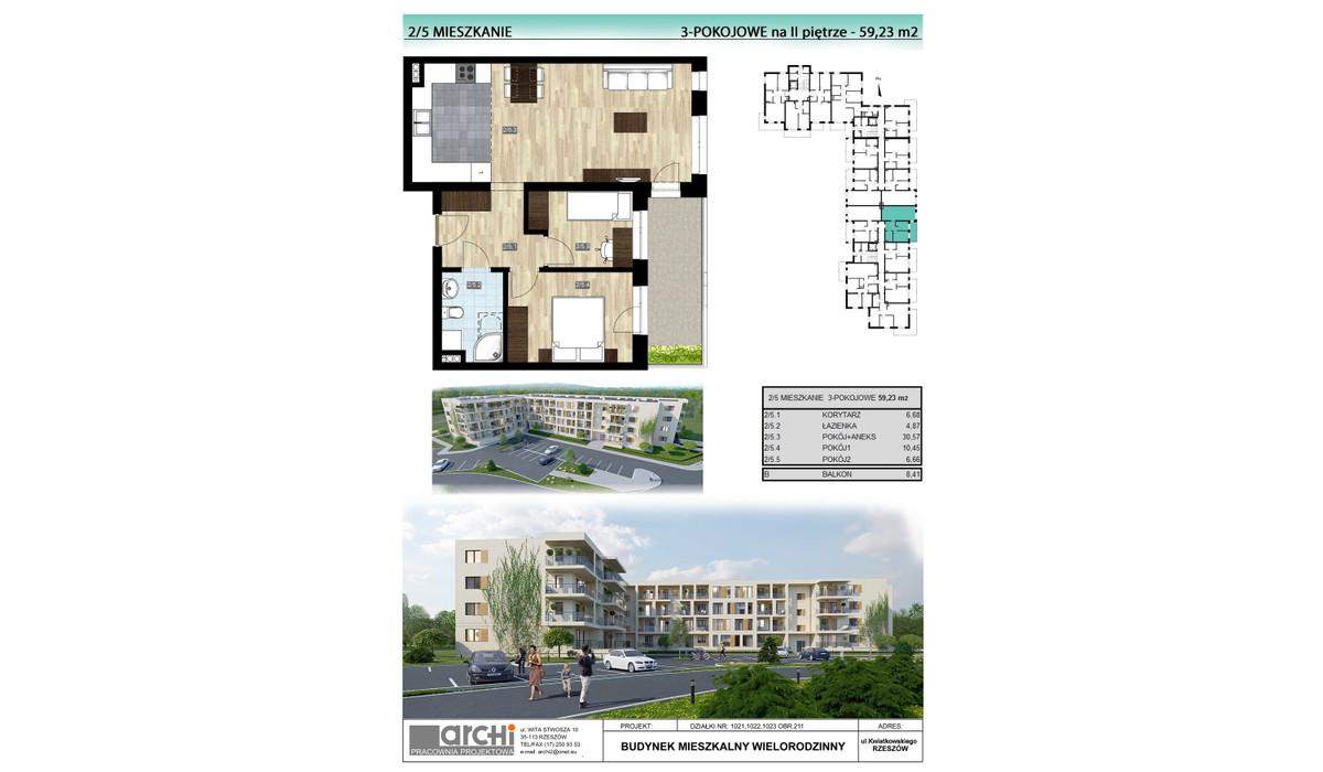 Mieszkanie w inwestycji Osiedle Kwiatkowskiego, Rzeszów, 59 m² | Morizon.pl | 0036