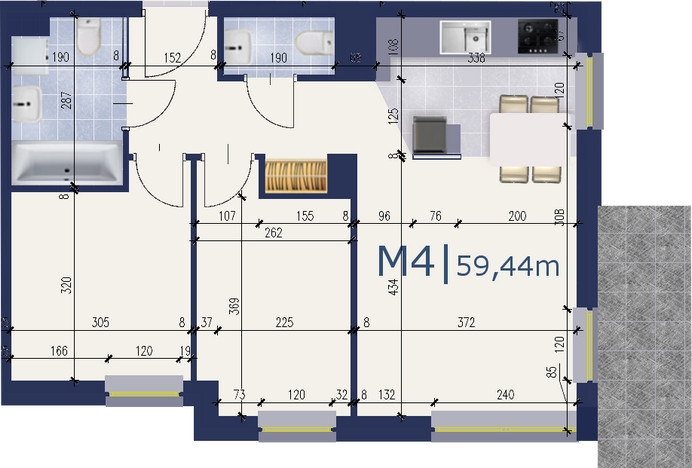 Mieszkanie w inwestycji Apartamenty Messal, Warszawa, 59 m² | Morizon.pl | 4687