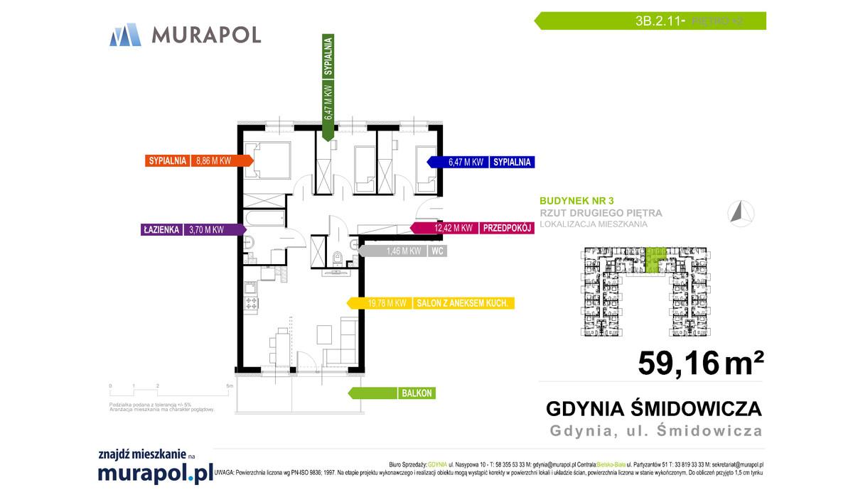 Mieszkanie w inwestycji Murapol Nadmorskie Tarasy, Gdynia, 59 m² | Morizon.pl | 1735