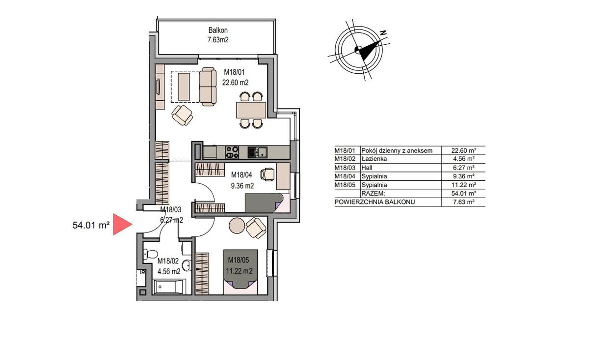 Mieszkanie w inwestycji Dębniki/Ruczaj, Kraków, 54 m² | Morizon.pl | 7485
