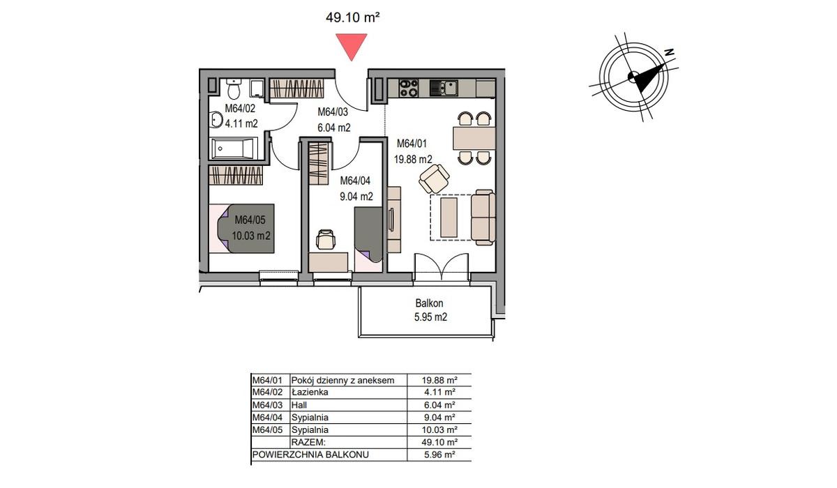 Mieszkanie w inwestycji Dębniki/Ruczaj, Kraków, 49 m² | Morizon.pl | 7508