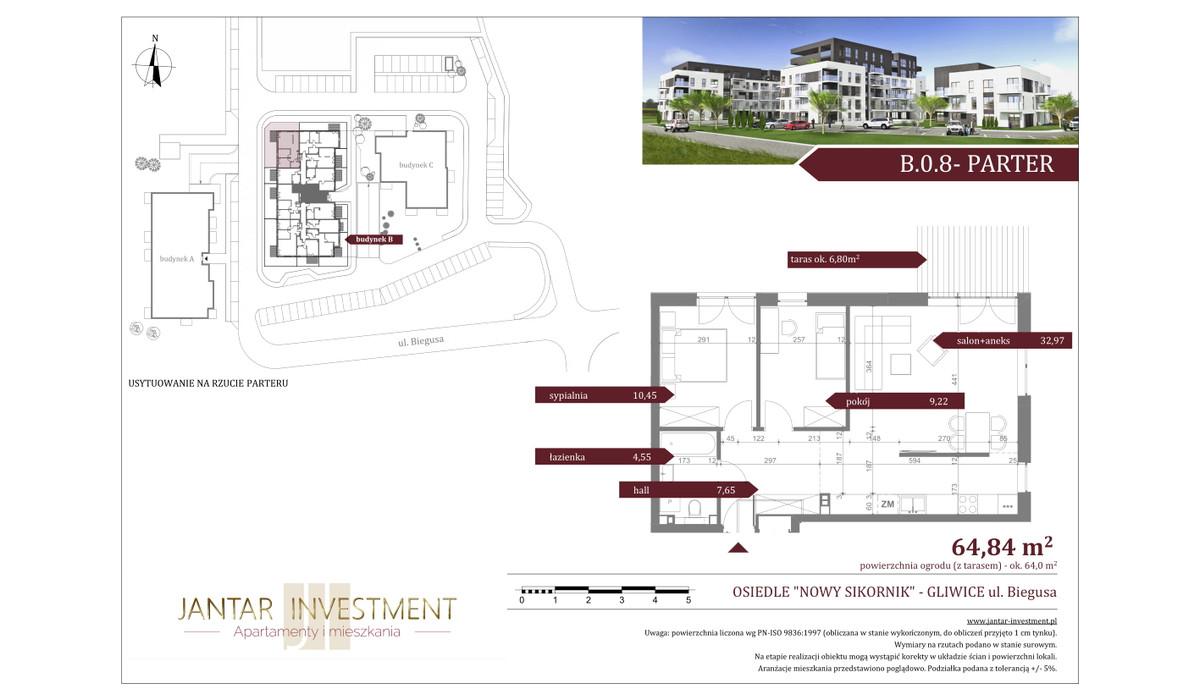 Mieszkanie w inwestycji Nowy Sikornik, Gliwice, 65 m² | Morizon.pl | 2490