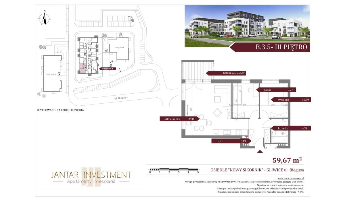 Mieszkanie w inwestycji Nowy Sikornik, Gliwice, 60 m²   Morizon.pl   2521