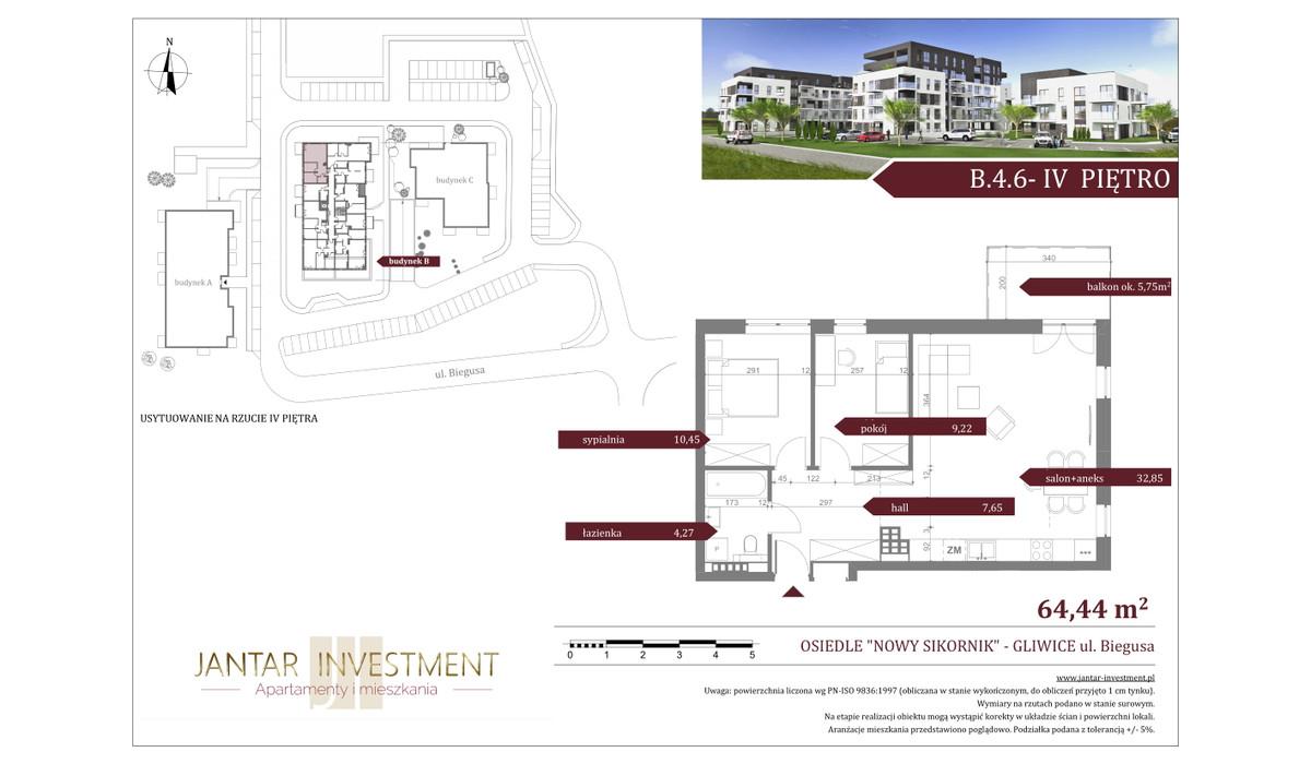 Mieszkanie w inwestycji Nowy Sikornik, Gliwice, 64 m² | Morizon.pl | 2531