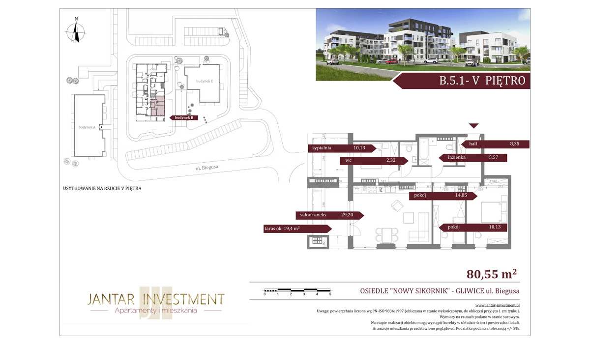 Mieszkanie w inwestycji Nowy Sikornik, Gliwice, 81 m²   Morizon.pl   2535