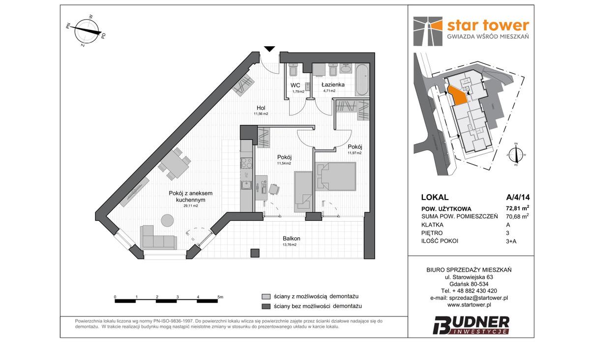 Mieszkanie w inwestycji Star Tower, Gdańsk, 73 m² | Morizon.pl | 5118