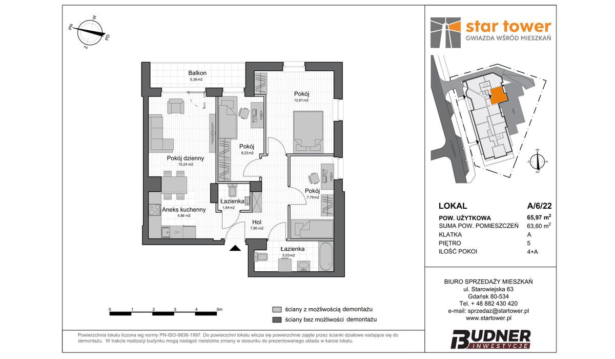 Mieszkanie w inwestycji Star Tower, Gdańsk, 66 m² | Morizon.pl | 5105