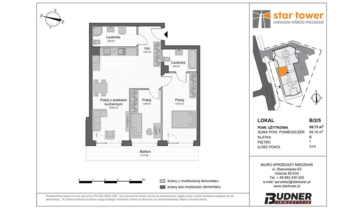 Mieszkanie w inwestycji Star Tower, Gdańsk, 70 m² | Morizon.pl | 5112