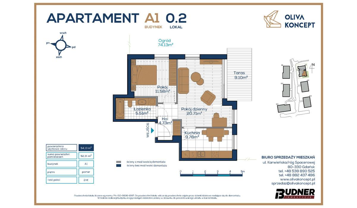 Mieszkanie w inwestycji Oliva Koncept, Gdańsk, 54 m² | Morizon.pl | 6934