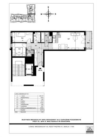 Mieszkanie w inwestycji ul. bpa A. Małysiaka, Kraków, 70 m² | Morizon.pl | 9310