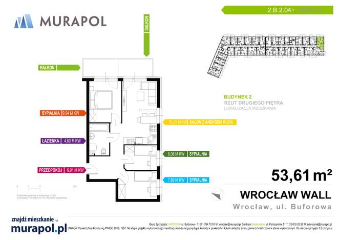 Mieszkanie w inwestycji Murapol Zielona Toskania, Wrocław, 54 m² | Morizon.pl | 3795