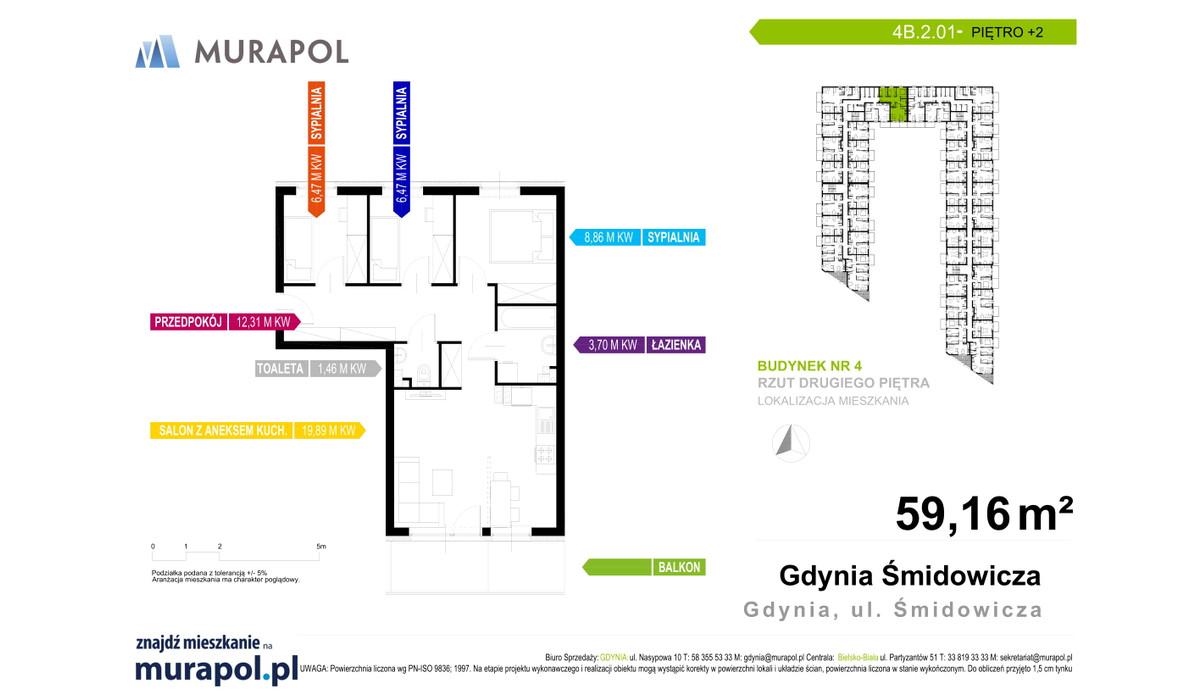 Mieszkanie w inwestycji Murapol Nadmorskie Tarasy, Gdynia, 59 m² | Morizon.pl | 1792