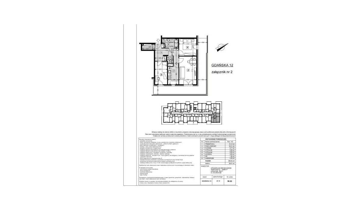 Mieszkanie w inwestycji Gdańska 12, Kraków, 61 m² | Morizon.pl | 6008