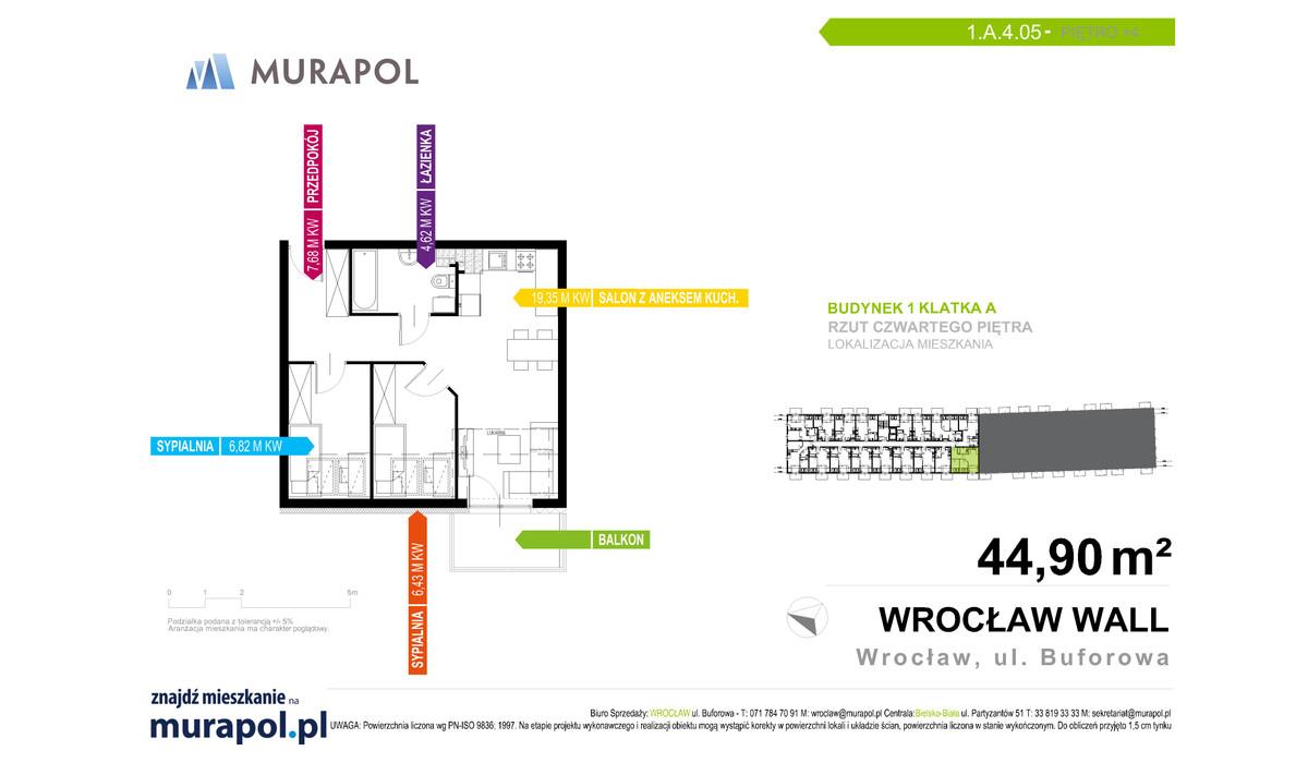 Mieszkanie w inwestycji Murapol Zielona Toskania, Wrocław, 45 m² | Morizon.pl | 7096