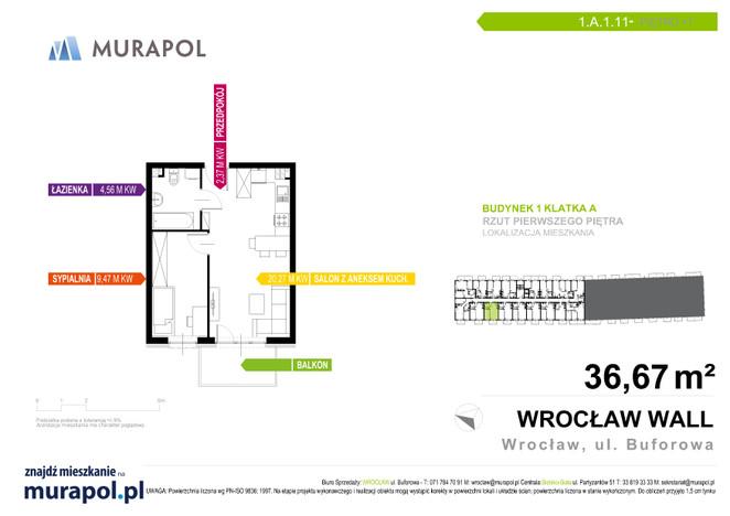 Mieszkanie w inwestycji Murapol Zielona Toskania, Wrocław, 37 m² | Morizon.pl | 7053