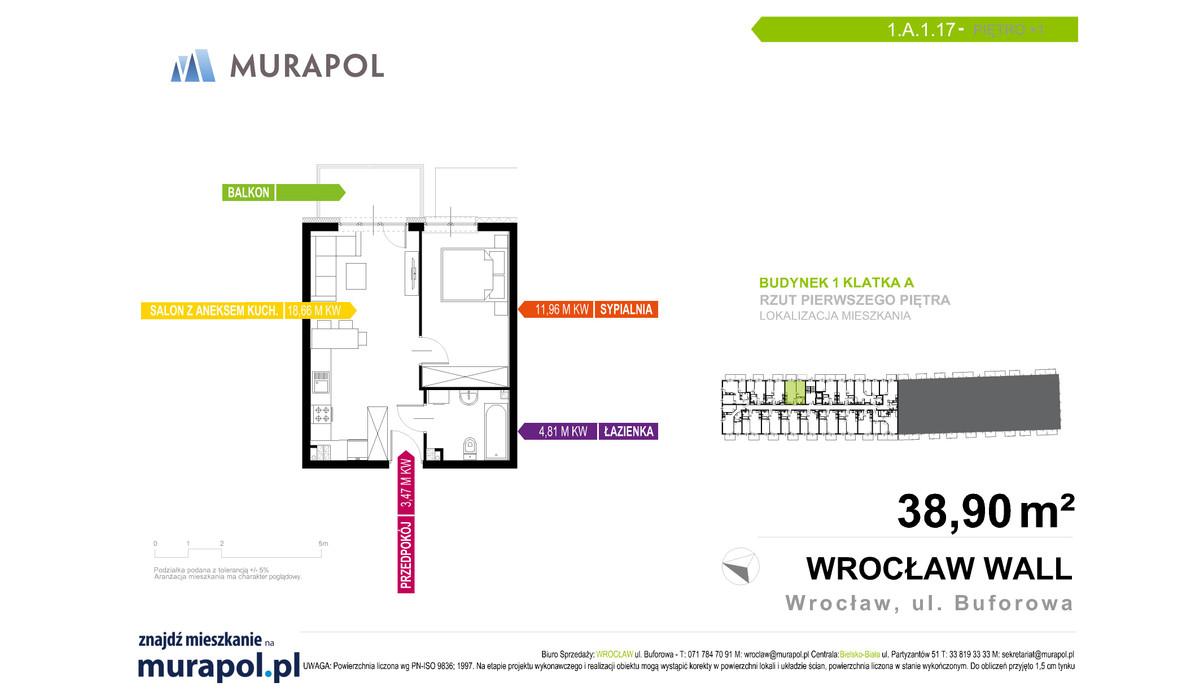 Mieszkanie w inwestycji Murapol Zielona Toskania, Wrocław, 39 m² | Morizon.pl | 7059
