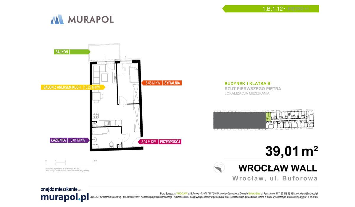 Mieszkanie w inwestycji Murapol Zielona Toskania, Wrocław, 39 m² | Morizon.pl | 7133