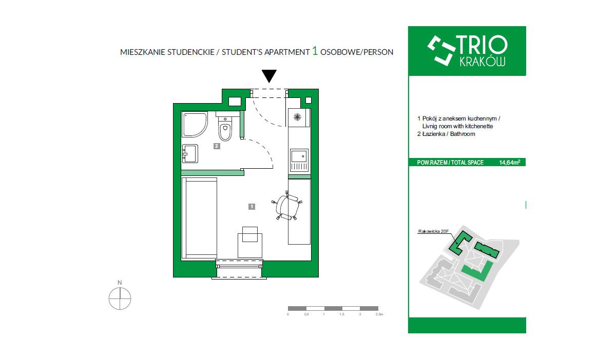 Mieszkanie w inwestycji TRIOKraków, Kraków, 15 m² | Morizon.pl | 2668