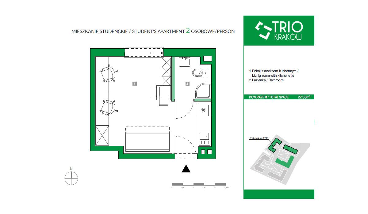 Mieszkanie w inwestycji TRIOKraków, Kraków, 22 m² | Morizon.pl | 2669