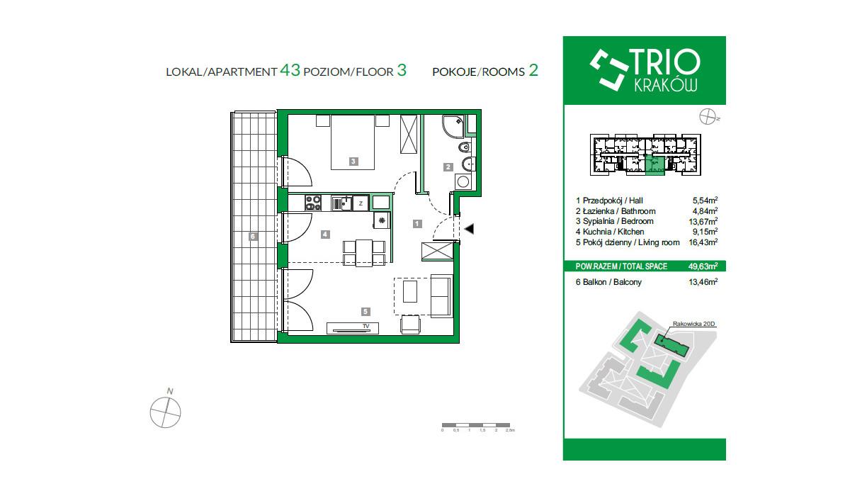 Mieszkanie w inwestycji TRIOKraków, Kraków, 50 m² | Morizon.pl | 1101