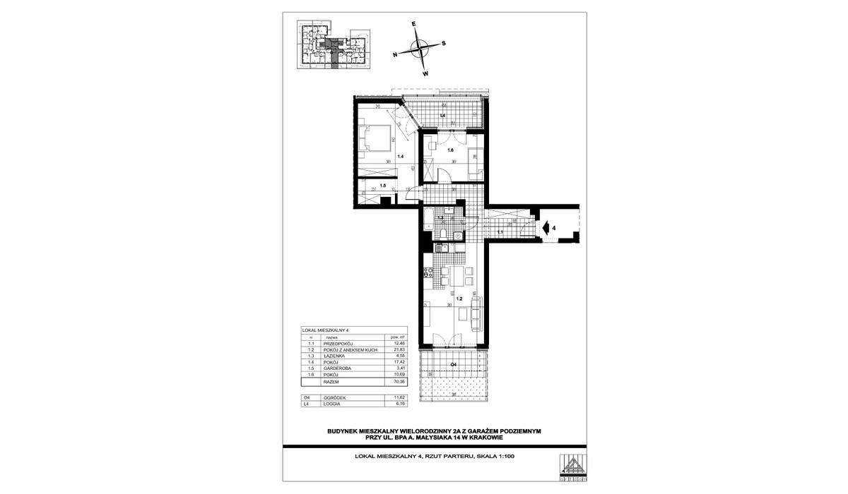 Mieszkanie w inwestycji ul. bpa A. Małysiaka, Kraków, 70 m² | Morizon.pl | 5805
