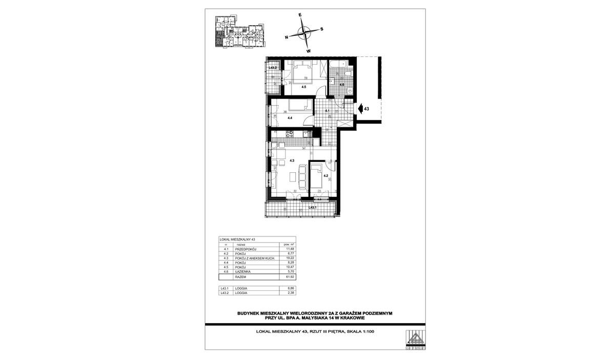Mieszkanie w inwestycji ul. bpa A. Małysiaka, Kraków, 62 m² | Morizon.pl | 5834