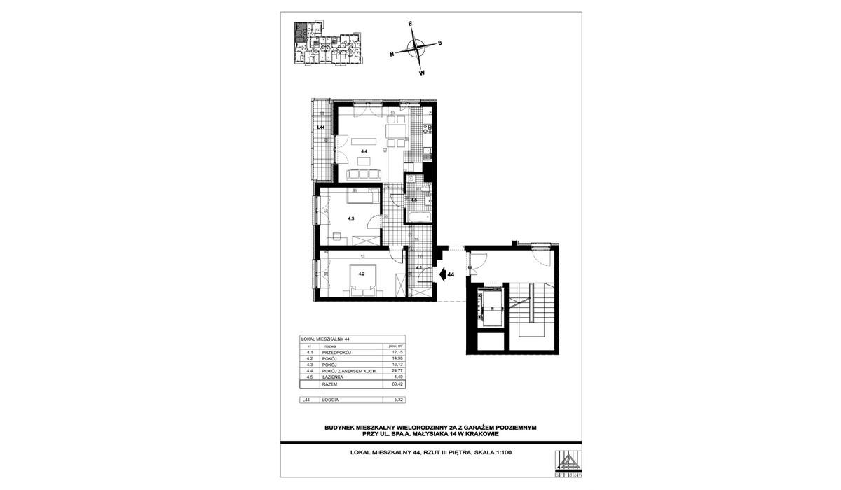 Mieszkanie w inwestycji ul. bpa A. Małysiaka, Kraków, 69 m² | Morizon.pl | 5835