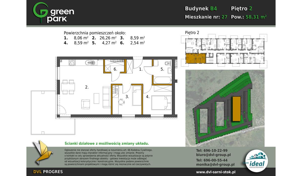 Mieszkanie w inwestycji Nowe Apartamenty Green Park, Bielsko-Biała, 58 m² | Morizon.pl | 2696