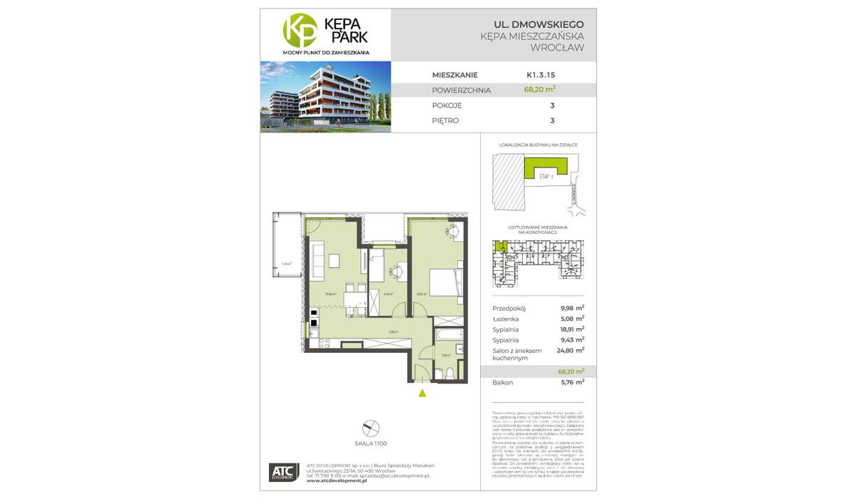 Mieszkanie w inwestycji Kępa Park, Wrocław, 68 m²   Morizon.pl   9068