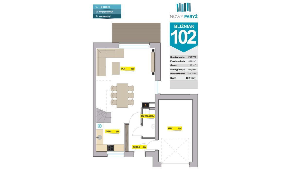 Dom w inwestycji Nowy Paryż - Ruda Śląska, Ruda Śląska, 102 m² | Morizon.pl | 2076
