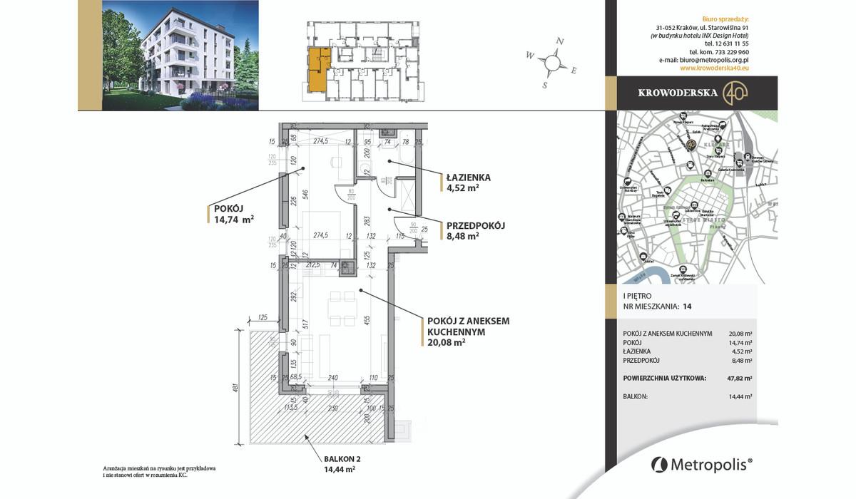 Mieszkanie w inwestycji Krowoderska40, Kraków, 48 m² | Morizon.pl | 7098