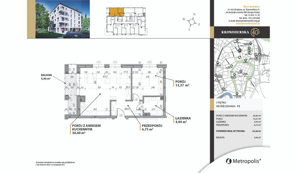 Mieszkanie w inwestycji Krowoderska40, Kraków, 59 m² | Morizon.pl | 7099