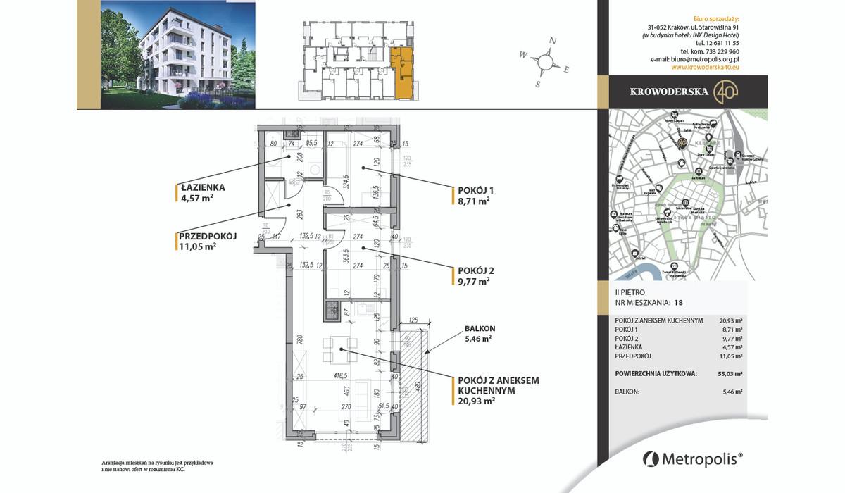 Mieszkanie w inwestycji Krowoderska40, Kraków, 55 m² | Morizon.pl | 7002