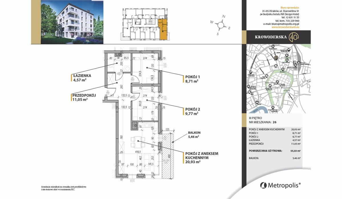 Mieszkanie w inwestycji Krowoderska40, Kraków, 55 m² | Morizon.pl | 7110