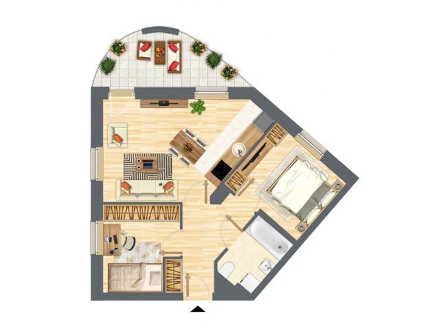 Morizon WP ogłoszenia | Mieszkanie w inwestycji Słowackiego 77, Gdańsk, 54 m² | 5299