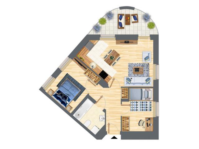 Morizon WP ogłoszenia | Mieszkanie w inwestycji Słowackiego 77, Gdańsk, 55 m² | 5203